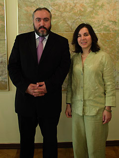 Transatlantic & Caucasus Studies Institute director Ziba Norman meets Temuri Yakobashvili, Georgian Minister for Reintegration.